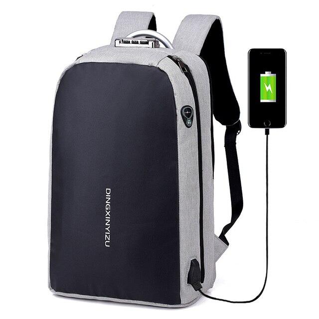 New 15 inch Laptop Backpack USB Charging Anti Theft Backpack Men Travel Backpack  Waterproof School Bag cc57001ea572f