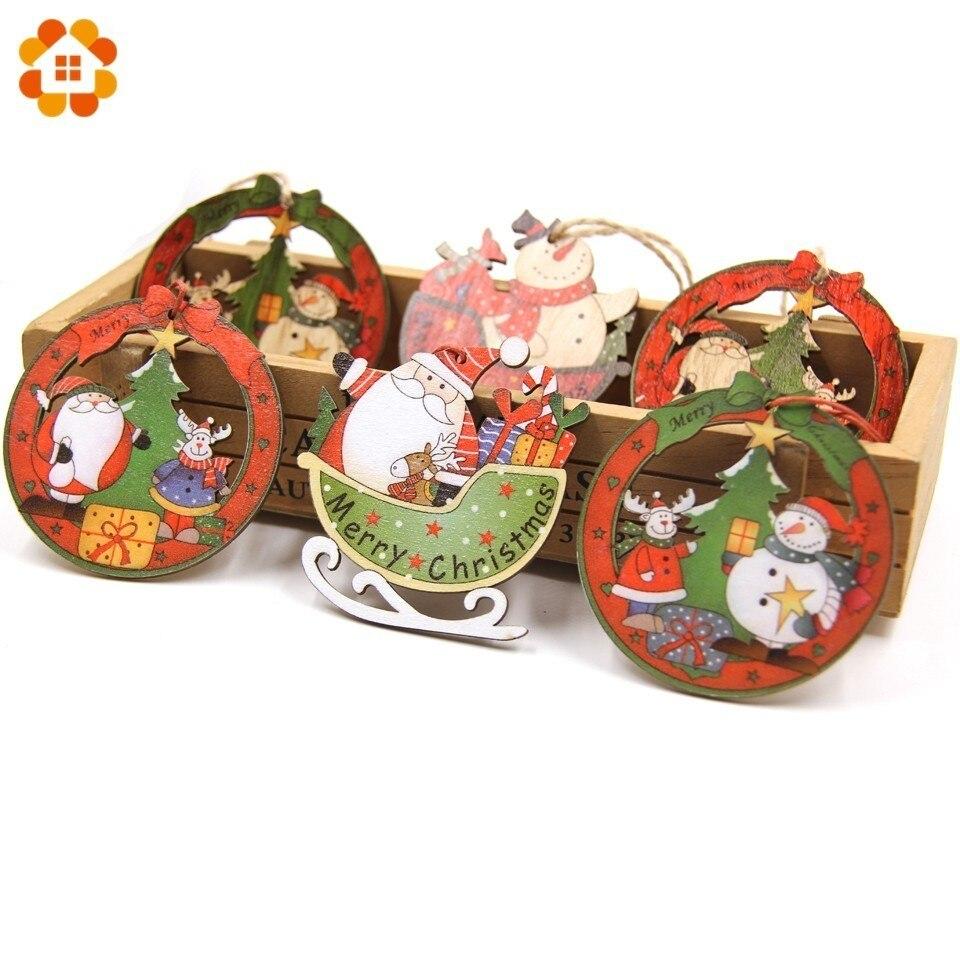 12PCS/Box Creative Christmas Wooden Pendants Ornaments Party Decorations Tree Wood Craft Gift Box