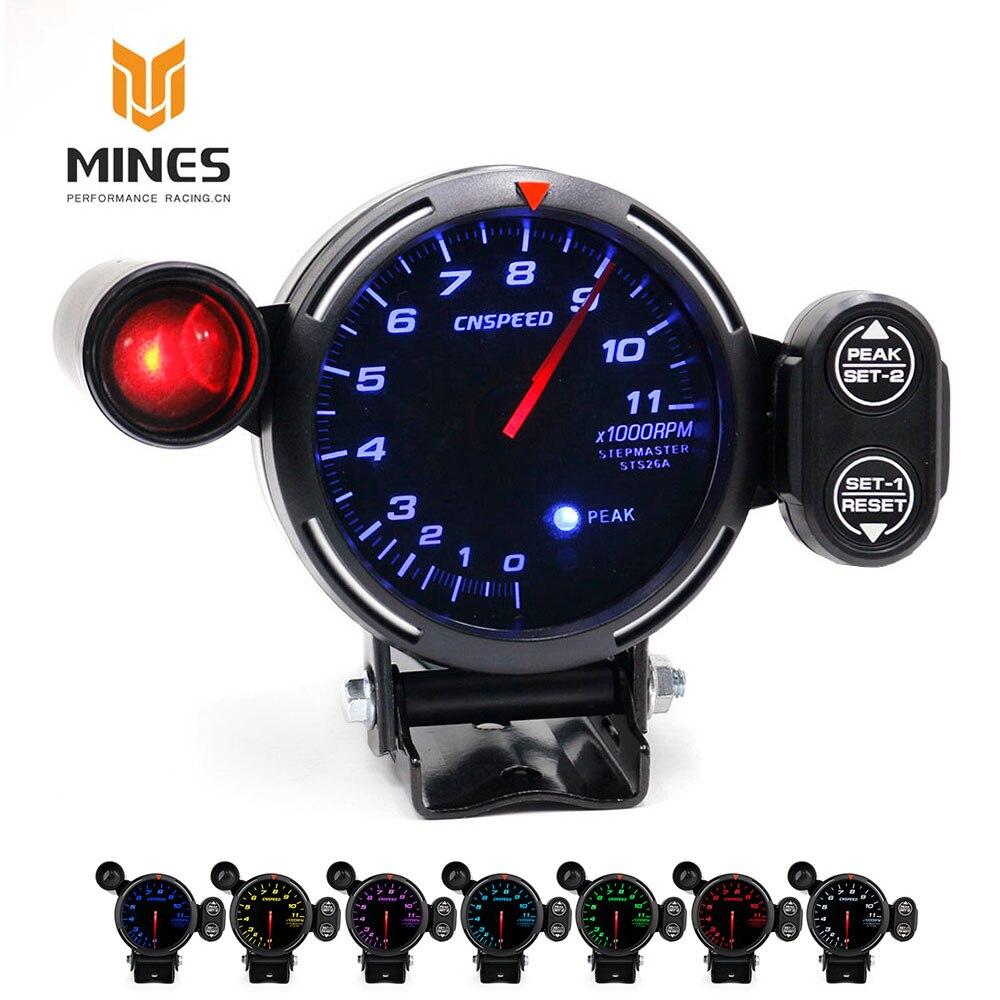 CNSPEED 80MM RPM Speed Tachometer Racing Meter With Red/Blue/White Light Car Tachometer 0-11000 RPM gauge with peak стоимость