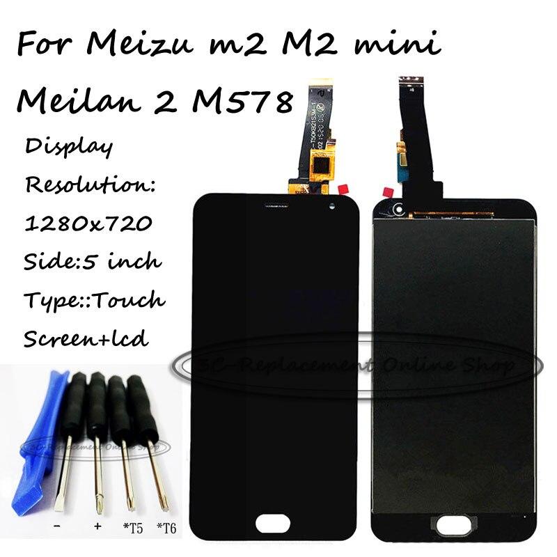 imágenes para Negro lcd + tp para meizu m2 m2 mini/meilan 2 M578 Pantalla LCD con Digitalizador de la Pantalla Táctil Smartphone + Envío herramientas