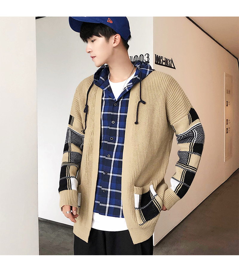 Korean Oversized Sweater Cardigan Men Plaid (4)