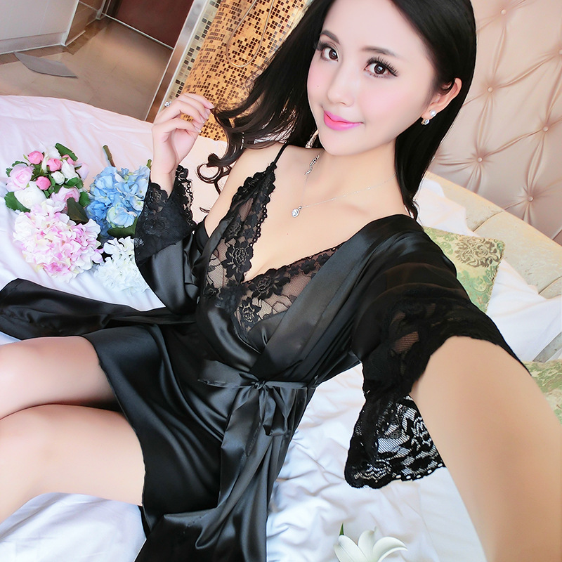 Black Lace Sleepwear Sexy Nighties&Robe Set Rayon Nightdress Women Kimono Bath Robes Gown Soft Intimate Lingerie Home Clothes