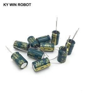 Image 4 - 10 шт., алюминиевый электролитический конденсатор, 22 мкФ, 450 в, 13*20 мм, радиальный электролитический конденсатор frekuensi tinggi