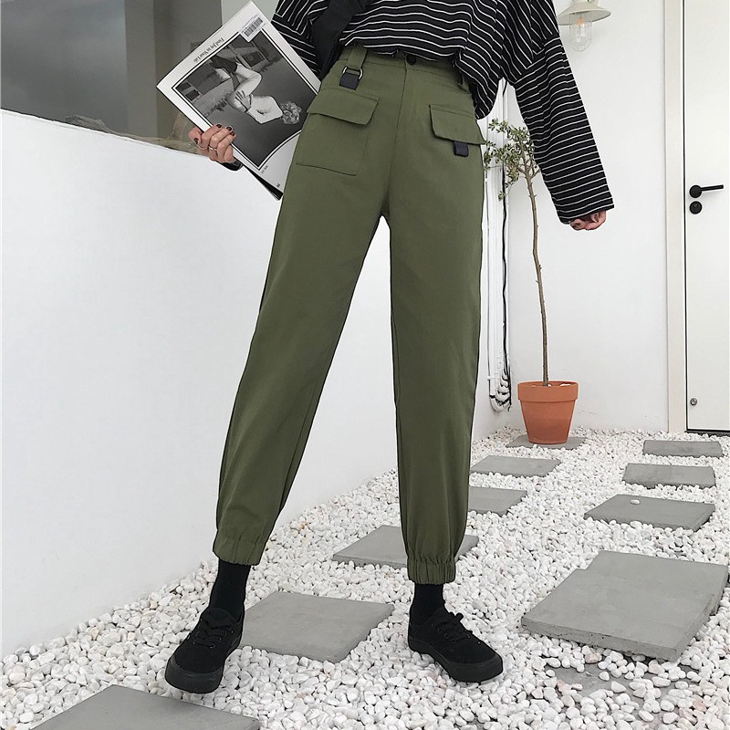 2019 Streetwear Casual Joggers Army Green Women Cargo   Pants     Capri   High Waist Loose Female Trousers Korean Style Ladies   Pants