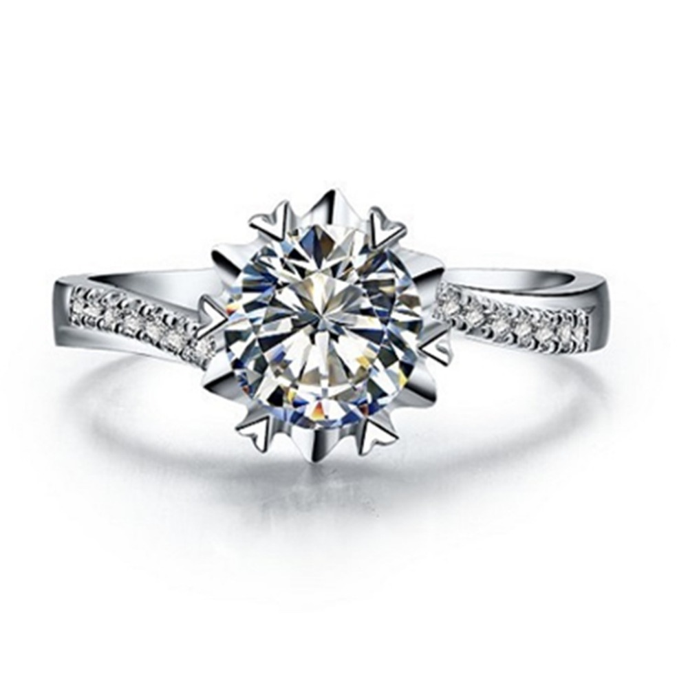Affordable Fine Jewelry Snowflake Ring 0 5CT SONA Marriage Simulate Diamond Ring Women Sterling Silver Jewelry