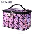 2017 Bling Cosmetic Bag Fashion Geometric Zipper Makeup Women Laser Flash Diamond Leather Make Up Bag Lady Cosmetics Organizer