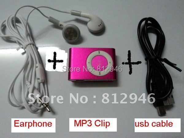 5pcs/lot,Metal MINI Clip MP3 Player with card slot +Earphone +usb cable,Support top8GB MicroTF card