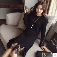 4xl mais mulheres tamanho grande roupas 2017 primavera outono inverno coreano roupa fina ponto preto rendas doce bonito vestido feminino A2659