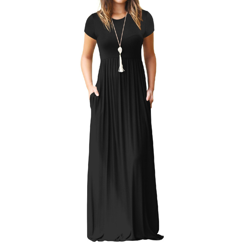 Summer Maxi Long Dress Women Femme Boho Long Dresses Plus Size Casual Pockets New Short Sleeve O-neck Solid Dress S-2XL GV598 1
