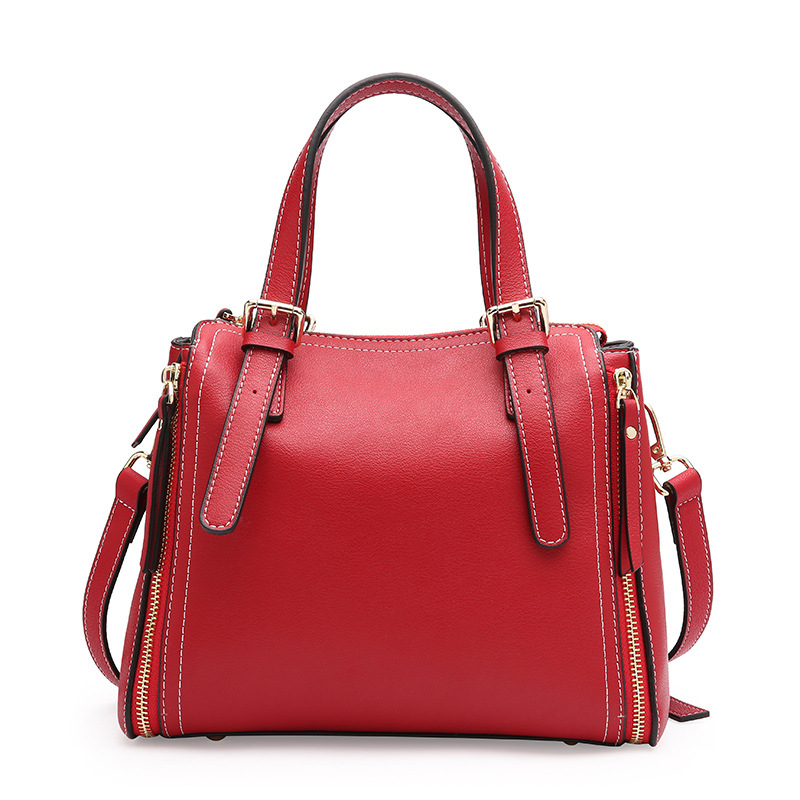 Korean Style Vintage Woman Genuine Leather Fashion Top-handle Bag Brief Zipper Cowhide Shoulder Messenger Bag Birthday Gift Tote