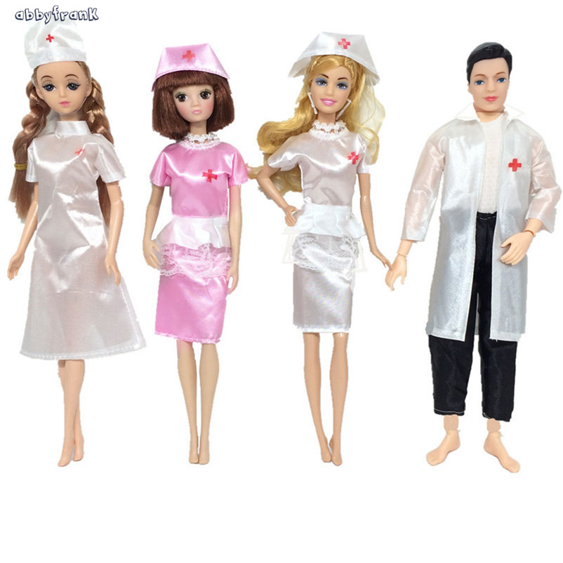 Abbyfrank Doctor Nurse Doll With Clothes Occupation Display Dress Toys Doutora Enfermeira Play House DIY Toys For Girls