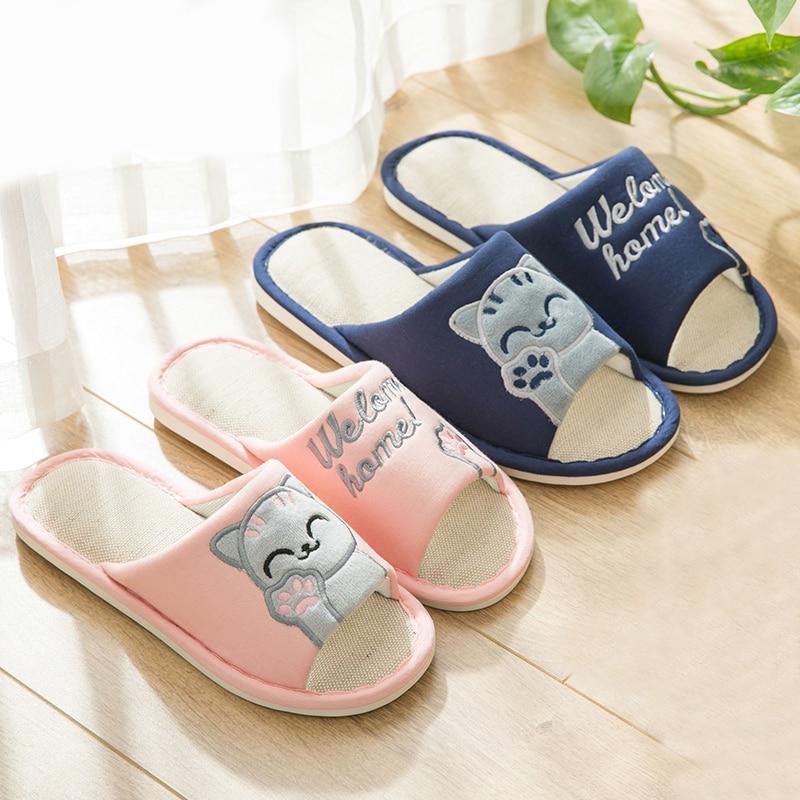 Cartoon Cat 2018 Women Slippers Linen Cute Cat Summer Slip On Home Slippers Platform Sandals Women Shoes Zapatillas Mujer leisure platform and cartoon pattern design slippers for women