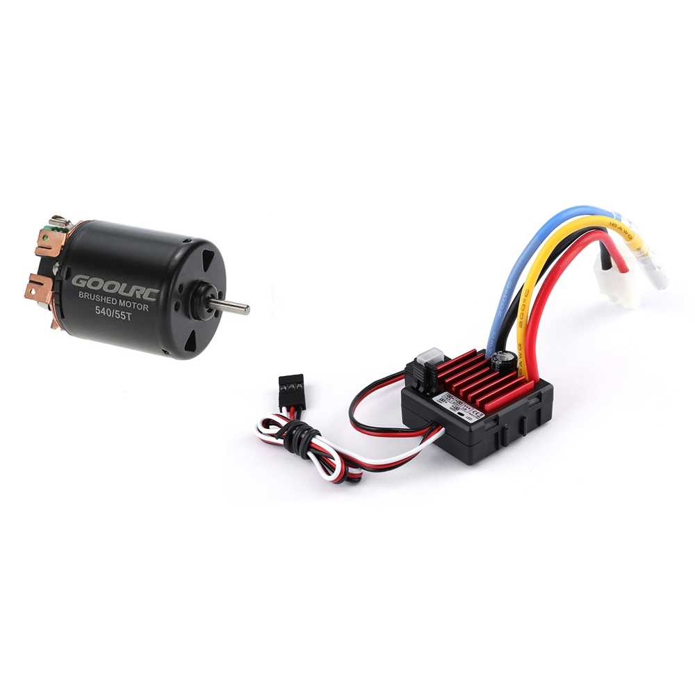 medium resolution of  goolrc 540 55t 4 poles brushed motor and tb 60060 60a waterproof brushed esc speed