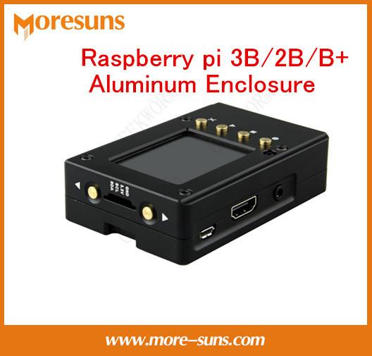 Rápido Envío Gratis 2 unids/lote Raspberry pi B/2B/B + caja de aluminio ultrafino de aleación de aluminio de disipación de calor caja con pantalla trajes