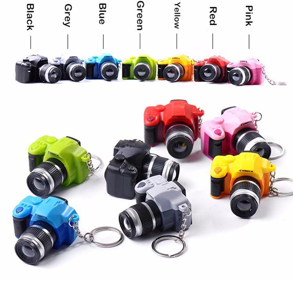 Cool Electronic Toys Mini Camera Led Toy Camera-shaped Keychains With Shutter Sound LED Flashlight Key Ring Amazing Gift
