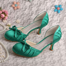 Wedopus Mid Heel Green Satin Wedding Shoes Closed Toe Pumps Size 38 Dropshipping