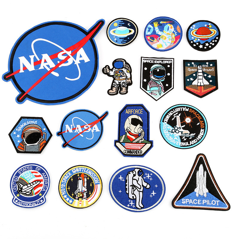 Iron-On Fashion Patches Sew on Applique UFO Astronaut Space Air Force Diver Parches for Clothing Embroidery DIY Stripes Clothes