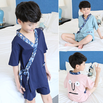 2019 Cotton Boys  Household Sleepwear Children's Short Sleeve Pajamas Suit Baby Summer Pyjamas Set Kids Kimono Underwear Z959(China)