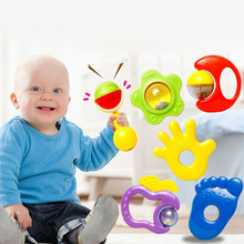 6pcs Baby  Rattles Safe Teether Hand Jingle Shaking Bell Toys Toddles Infant Rattle Practice Education Funny Toys