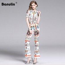 Banulin 2019 Fashion Designer Runway Summer Suit Set 2 Pieces Womens Short Sleeve Vintage Shirts + Slim Flare lPants