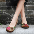 Original vintage handmade ladies spring shoes 2017 leather shoes women flats shallow mouth embroidered comfortable
