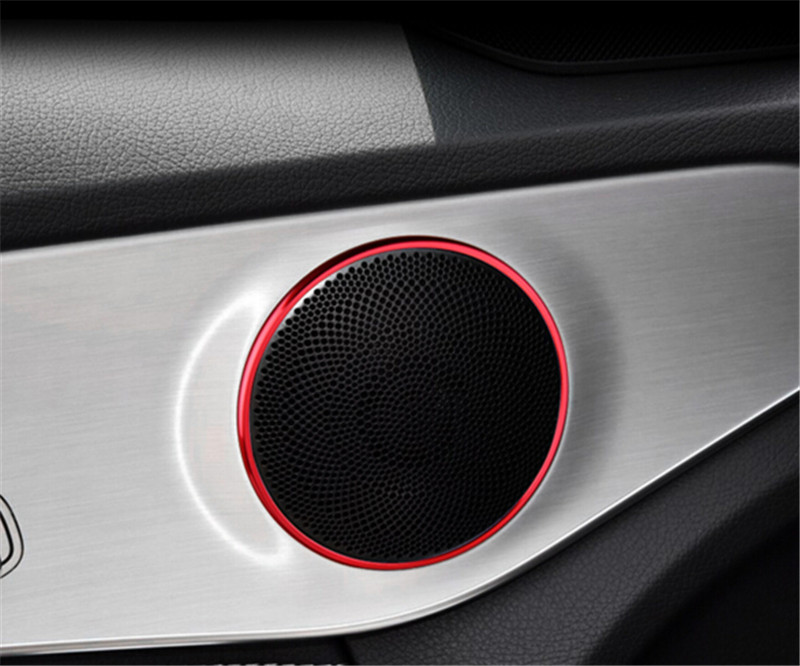 4pcs Car Door Loud Speaker Audio Sound Ring Cover Trim For Mercedes Benz C Class W205 2014 2015 C180 C200 C250 C300 C400 C63