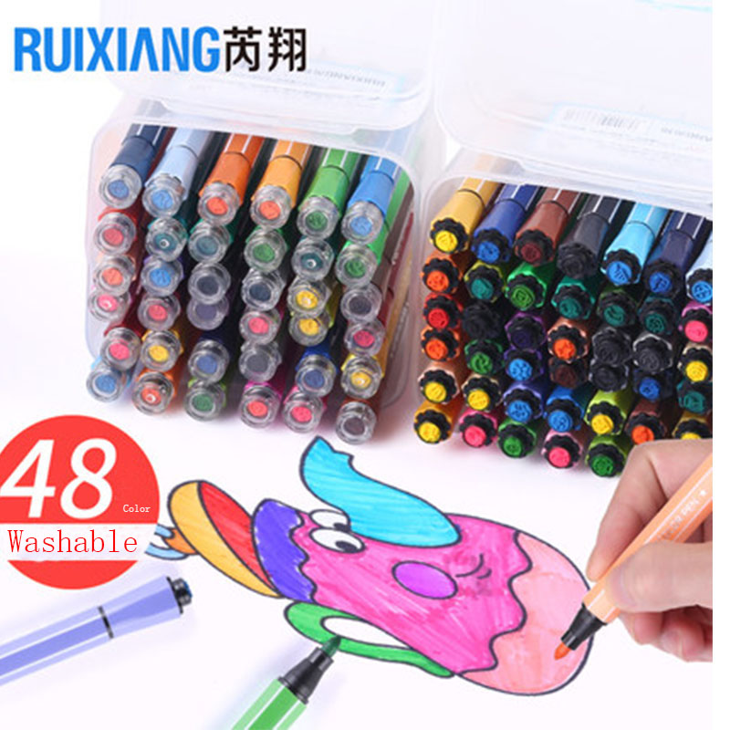 48 Water Color Pen with Stamp Draw Stationery Watercolor Painting Office School Home Washable Colour Pen Smooth Vivid Beauty Pen