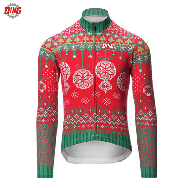 NEW cycling jersey Christmas long sleeve Winter Fleece  no Fleece man red  blue cycling clothing MTB Mountain Bike wear clothes 4f9b329c2
