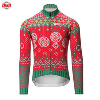 NEW Cycling Jersey Christmas Long Sleeve Winter Fleece No Fleece Man Red Blue Cycling Clothing MTB