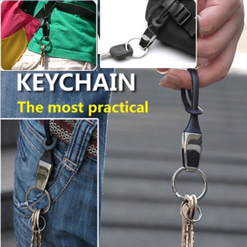 The Most Practical Keychains Men Key Chain Car Key Holder Ring Jewelry Bag Pendant Rubber Rope Casual/Sport/Outdoor Key Chain ...