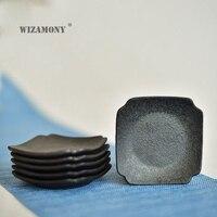WIZAMONY 6PCS Crude Pottery Purely Handmade Creative Tea Tray Tea Cup Tea Accessory High Quality Home Decoration