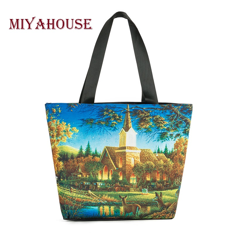419d835ba3 Miyahouse Woman Canvas Shoulder Bags Casual Female Beach Bags Landscape Printed  Shopping Bag Ladies Canvas Tote