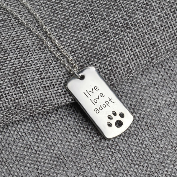 New Fashion Rectangular Dog Tag Style Pendant Necklace Cat Dogs  live love adopt  Pet Rescue Paw Print Tag Wholesale Jewelry ...