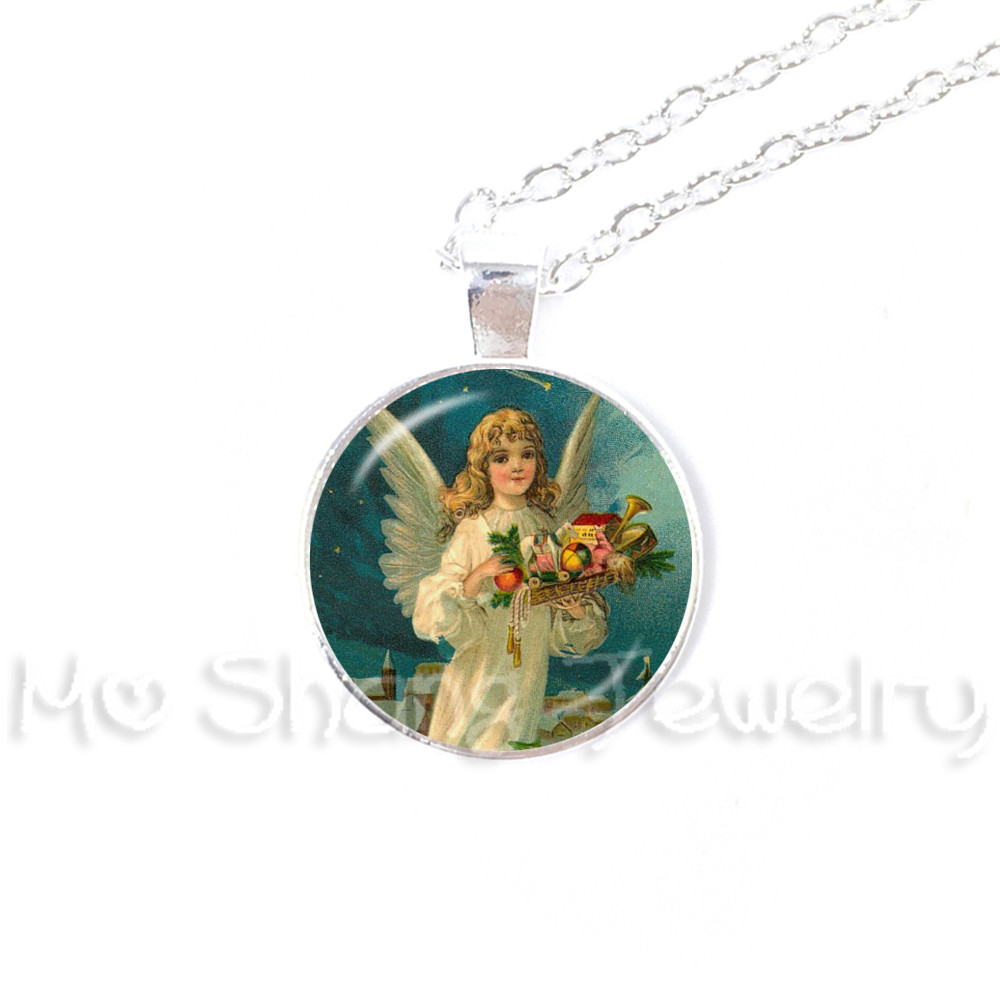 Vintage Victorian Christmas Angel Pendant Necklace New Year Gifts ...