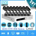 Sistema de CCTV 16CH DVR com 16 pcs 600tvl TEATE kit câmera de segurança sistema de vigilância de vídeo de 16 canais 1 tb hdd SK-217