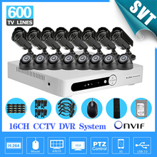 TEATE 16CH CCTV DVR system with 16pcs 600tvl video surveillance system security camera kit 16 channel 1tb hdd SK-217