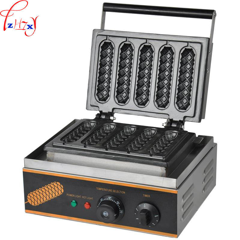 110V/220V Hot Dog Waffle machine FY-117 commercial lolly hotdog sausage specs Hotdog Waffle Maker Use Electric 1PC directly factory price commercial electric double head egg waffle maker for round waffle and rectangle waffle