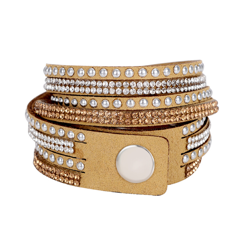 Special Coffee Women's Summer Charming Leather Bracelet Synthetic Crystal Decoration Multilayers Hot Selling Accessory