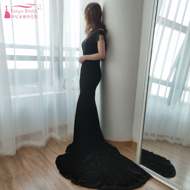 Weddings & Events Black Velour Evening Dresses High Neck Mermaid Special Occasion Formal Gowns Vestido De Noiva With Beading Ze030 Dependable Performance