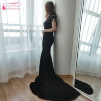 Black Velour Evening Dresses High Neck Mermaid Special Occasion Formal Gowns Vestido De Noiva with Beading ZE030