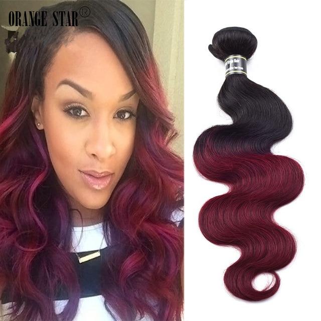 Dark Root Burgundy Ombre Hair Extensions 3 Bundles Peruvian Virgin