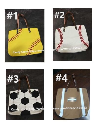 50pcs Whole Fashion Blanks Cotton Canvas Tote Bag For Women Men Monogram Sports Baseball Soccer Handbag