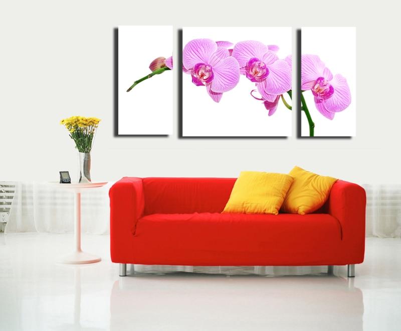 ᑐPapillon orchidée 3 Panneaux HD Imprimé Art Peinture Sur Toile