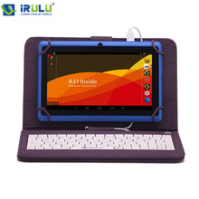 "IRULU eXpro X1 7 ""Tablet Allwinner A33 Android 4.4 Quad Core 8 GB ROM 1024*600 HD Tablet PC con Teclado de Color Púrpura WIFI Tablet"
