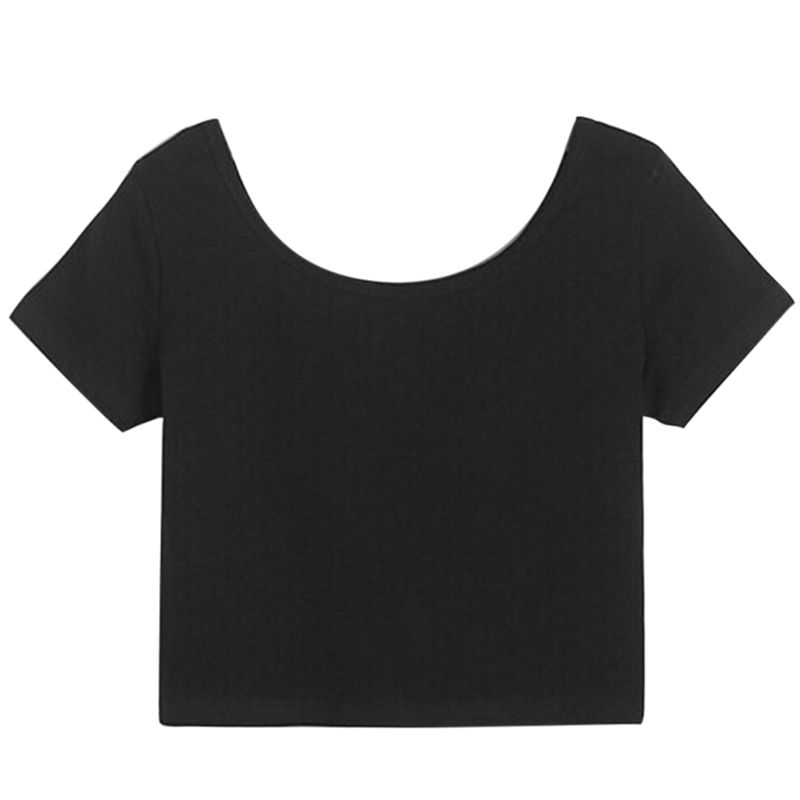 T-shirts Bright Sexy Crop Top Ladies Short Sleeve T Shirt Tee Short T-shirt Basic Stretch T-shirts New Women Best Sell U Neck