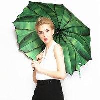 バナナ傘プロモーション限定半径paraguas傘三折りたたみ傘のファッションコーティング3dフラワープリント