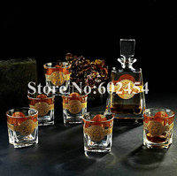 High end Crystal whiskey cups sets red wine glass and wake wine bottle sets Luxurious Inlaid gold crystal wine set Home bar sets