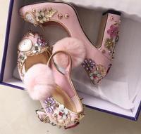 Watches and Clocks Crystal Heel Pumps Pink Hair Ball Chunky High Heels Dress Shoes Women Diamond Princess Shoes Real Photo