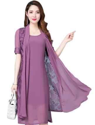 Женское летнее платье среднего возраста 2019, винтажные две детали с принтом, платье больших размеров, элегантное офисное платье, шифоновое платье DC941