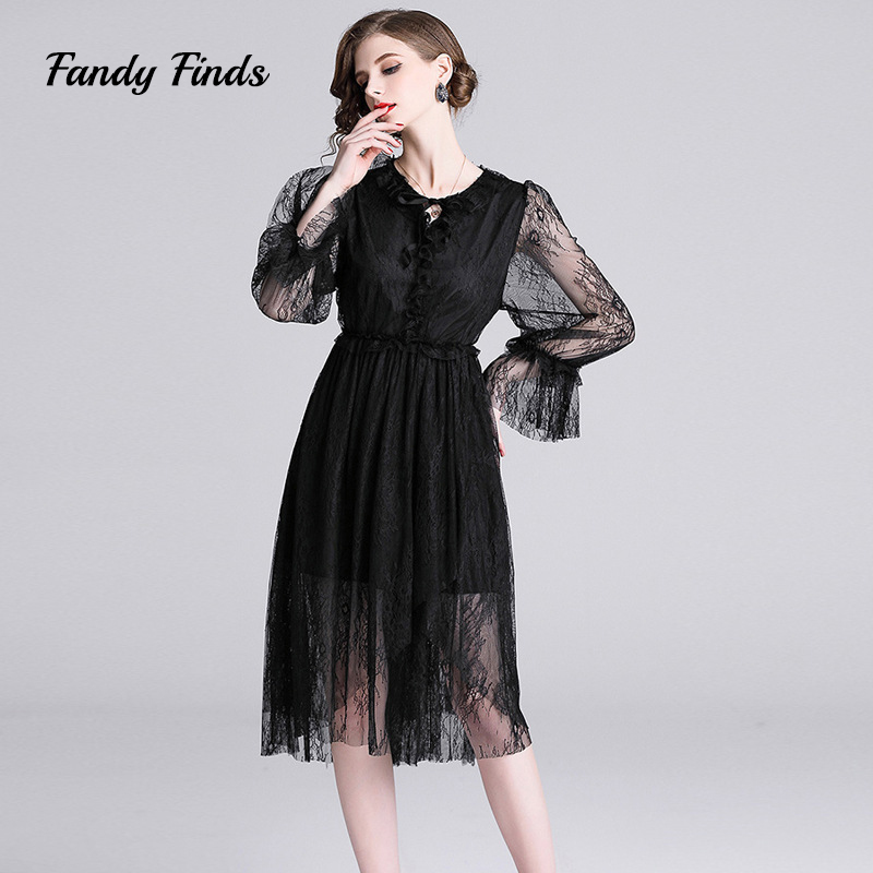 Fandy Finds Spring Lace Dress Women New Black Color Diffuser Mesh Mid Calf Banquet Wedding Ladies Casual Party Trendy Dress